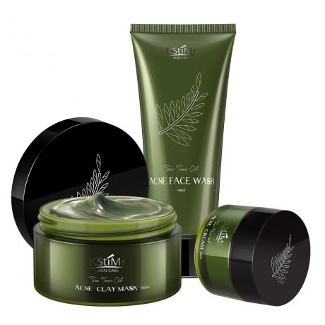 KStimes Tea Tree Oil Skin Care Set ( 100g clay mask+ 100ml facial cleanser+ 30g acne cream)